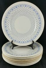 "Spode Blue Ermine Set of 8 x 9 3/8"" Salad / Luncheon Plates Blue Backstamp"