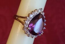 WOMENS RING SIZE 7 AMETHYST PEAR SHAPED CZ AROUND