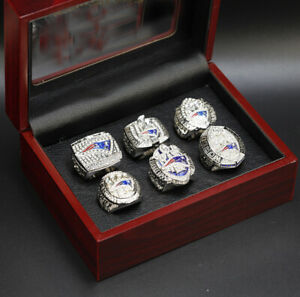Tom Brady 6Pcs New England Patriots Super Bowl Championship Ring with Wooden Box