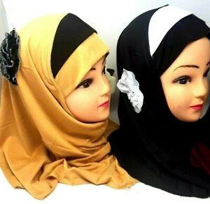 Kids Girls /Muslim Hijab Islamic Arab Scarf Shawls With Beautiful Flower as