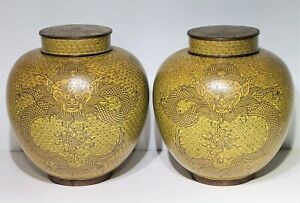 """Pair Antique Chinese Cloisonne Imperial Yellow Dragon Jars / Urn Vases 8"""" Tall"""