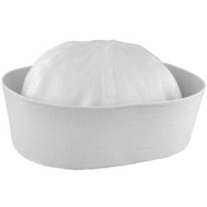 WHITE  SAILOR GOB HAT POPEYE GILLIGAN DOUGHBOY ADULT COSTUME ACCESSORY