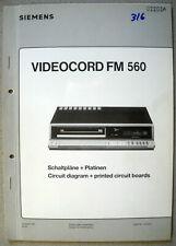 Siemens Videocord FM560 FM562-8 FM562-9 FM564-9 Service Manuals inkl. Mech. Teil