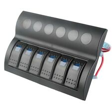 6 Gang Blue LED Car Marine Boat Caravan Waterproof Black Rocker Switch Panel New