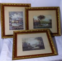Vtg 3 Pc Cellini Matted Framed Art 14x12 Ornate Frames Castle Grain Silo Capital