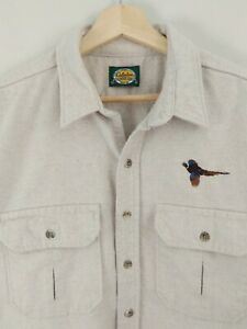 Vtg Cabelas Thick Cotton Flannel Chamois Shirt Button Up Pheasant Hunting XL USA