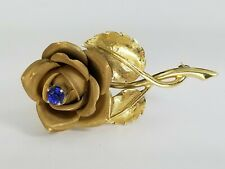 Beautiful 14k Yellow Gold 0.45CT Sapphire Ladies Rose Brooch Pin
