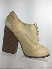 N.Y.L.A. DAZEY Womens High Heels Beige Wingtip Brogue Lace Up Shoes Size 8 M