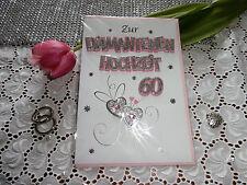 Elegante Glückwunschkarte DIAMANT Hochzeit 60 Rosa Silber Herze Rose 3D
