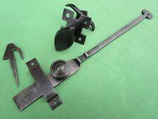 Clenche poignée navette rosace ouvragée mentonnet fer ancien barre 31,5 cm porte
