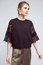 NWT ANTHROPOLOGIE Cropped Lace Sweatshirt by Eri + Ali sz. M