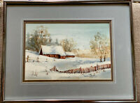 BARBARA MOORE WATERCOLOR WINTER BARN IN COLORADO FRAMED MATTED SIGNED 11X14""