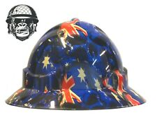 Custom Hydrographic Wide Brim Safety Hard Hat Skulls AUSSIE TO THE CORE WIDE