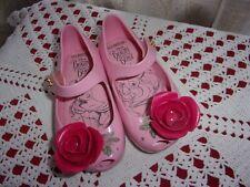 Mini Melissa Mary Jane style shoes Disney Beauty & Beast pink rose sz 6 Vguc