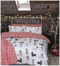 Christmas Dogs Reversible Quilt Duvet Cover Bedding Set Single Double King