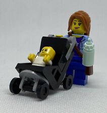 NEW GENUINE LEGO Mom and Baby with Black Stroller Minifigure Mother Mini Figure