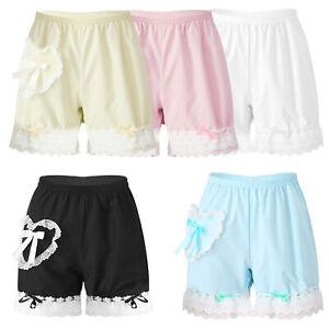 Women Frill Lace Trim Pyjamas Shorts Bottoms Lolita Bloomers Pumpkin BootyShorts