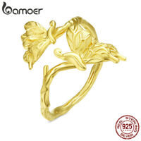 BAMOER Gold Plated Dancing butterfly Ring S925 Sterling silver For Women Jewelry