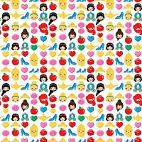 Disney Emojiland Princess Toss White premium 100% Cotton fabric by the yard