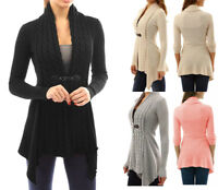 HOT Women Long Sleeve Knitted Cardigan Loose Sweater Jacket Coat Outwear Tops US