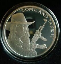 Western Freedom Girl Come Take it Proof 1 oz .999 silver cowgirl AK47 Molon Labe
