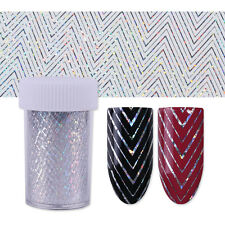 1 Roll Holo Starry Nail Foil Wave Line Nail Art Transfer Stickers Stencil Decal