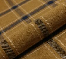 5M PRESTIGIOUS THICK TARTAN CHECK WOOL UPHOLSTERY CURTAIN  GOLD 1 FABRIC