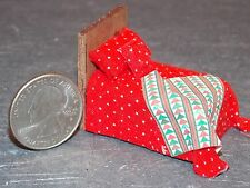 Dollhouse Miniature Bed Red White 1:48 Quarter inch scale 1/4 A66 Dollys Gallery
