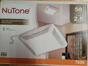 NuTone Bathroom Exhaust Fan With Light 50 CFM 2.5 Sones Model 763N
