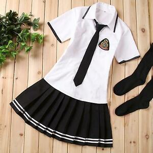 Japanese Korean School Girls Uniform Fancy Dress Suit Cosplay Costume Outfit