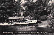 Postcard Boat Duck Leaving Lake Delton Dawn Manor WI Dells