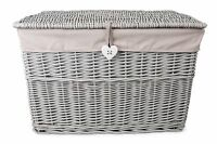 Grey Painted Wicker Trunk Storage Chest Hamper Basket Box Removable Lining