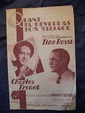 Partition Quand tu reverras ton village Charles Trénet Tino Rossi Music Sheet