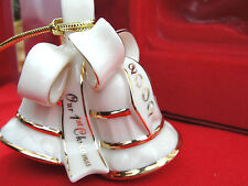 Lenox Annual Christmas Tree Ornament 2002 Our 1st Christmas Bells Ribbon 24k New