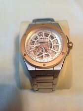 DREYFUSS & CO. Swiss Mens Automatic Skeleton Watch, Stainless Steel & Rose Gold