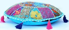 """18"""" Handmade Sari Patchwork Round Floor Cushion Cover Embroidered Pillow Cover"""