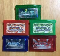 Pokemon Ruby Sapphire Emerald Red Green New battery Game Boy Advance GBA Tested