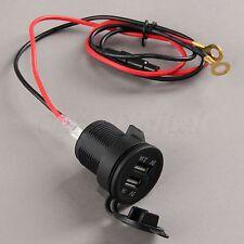 Dual USB Motorcycle Car Boat GPS Blue LED Power Charger Adapter Socket 5V 3.1A