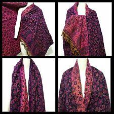 LADIES Luxurious 100% Wool LARGE Shawl,WRAP, PURPLE FLORAL SCARF,BLANKET,PLAID