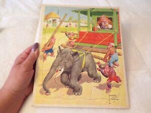 VTG Child's Puzzle Lawson Wood  Circus Elephant with Monkeys