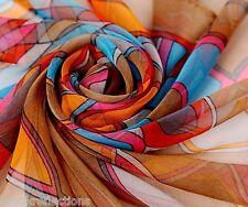 100% Pure Silk Scarf-Exquizite,Soft,Gentle-Elegant'Carnival'80x80cm*BR