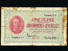 Seychelles:P-7,1 Rupee,1943 * King George VI *