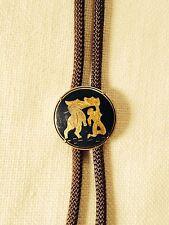 Vintage Men's Squaredancing / Western Tie- 1950's- Gold & Onyx