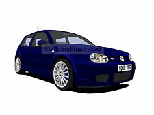 VW GOLF R32 CAR ART PRINT PICTURE (SIZE A4). PERSONALISE IT!