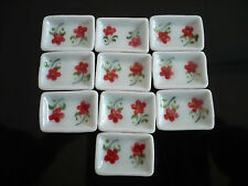 10 Rectangle Plates Hand Painted Red Rose Handmade Dollhouse Miniatures Ceramic