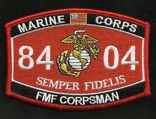 "United States MARINE CORPS 8404 ""FMF CORPSMAN"" MOS MILITARY PATCH SEMPER FI USMC"