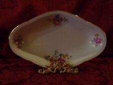 """Antique Bavaria German Oblong Rose Floral Serving/Relish 9"""" Gold Rim Dish"""