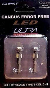 Ultra LED Canbus Error Free 501 (T10) White Sidelight Bulbs