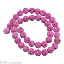 LP 1Strang vulkanisch Perlen Beads Kugeln Fuchsie Zum Basteln Fadeln 12mm
