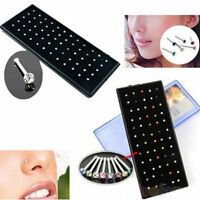 60pcs Crystal Rhinestone Nose Ring Bone Stud Stainless Steel Body Piercing Gift